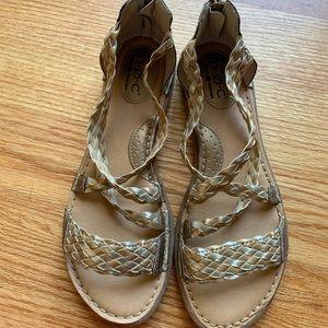 B.o.c gladiator sandals. Gold & silver